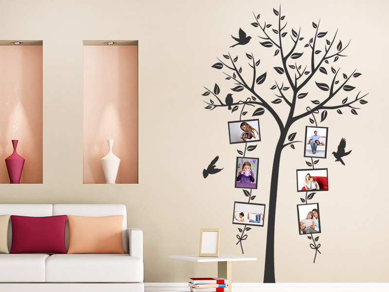 wandtattoo baum mit verspielten fotorahmen. Black Bedroom Furniture Sets. Home Design Ideas