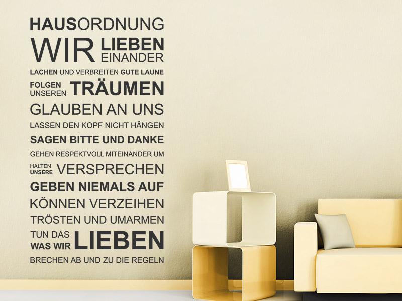 wandtattoo hausordnung wir lieben einander. Black Bedroom Furniture Sets. Home Design Ideas