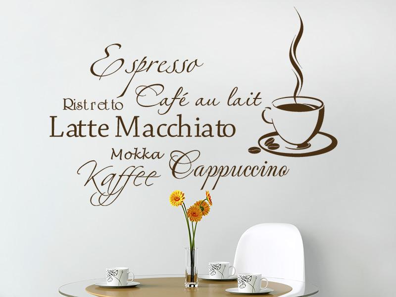 Wandtattoo Kaffee Aroma mit Kaffeetasse | Wandtattoos.de