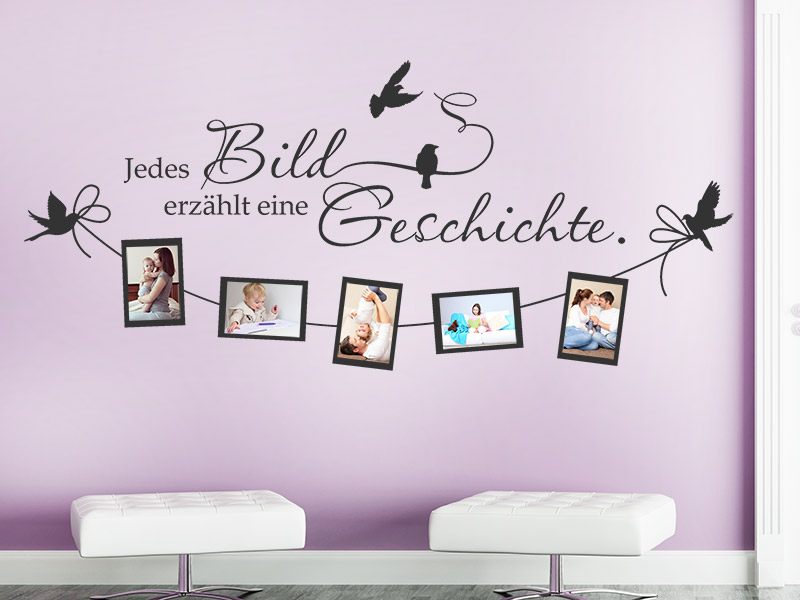 wandtattoo fotorahmen jedes bild erz hlt. Black Bedroom Furniture Sets. Home Design Ideas