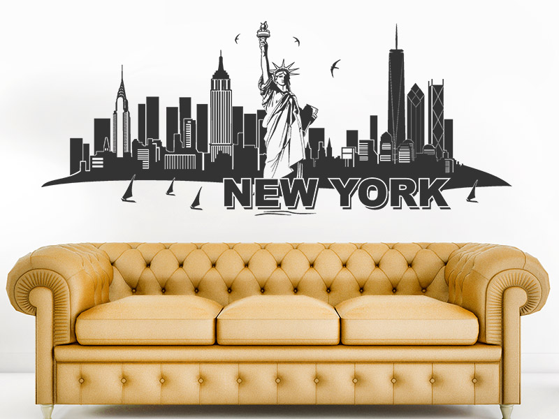 wandtattoo skyline new york mit freiheitstatue. Black Bedroom Furniture Sets. Home Design Ideas