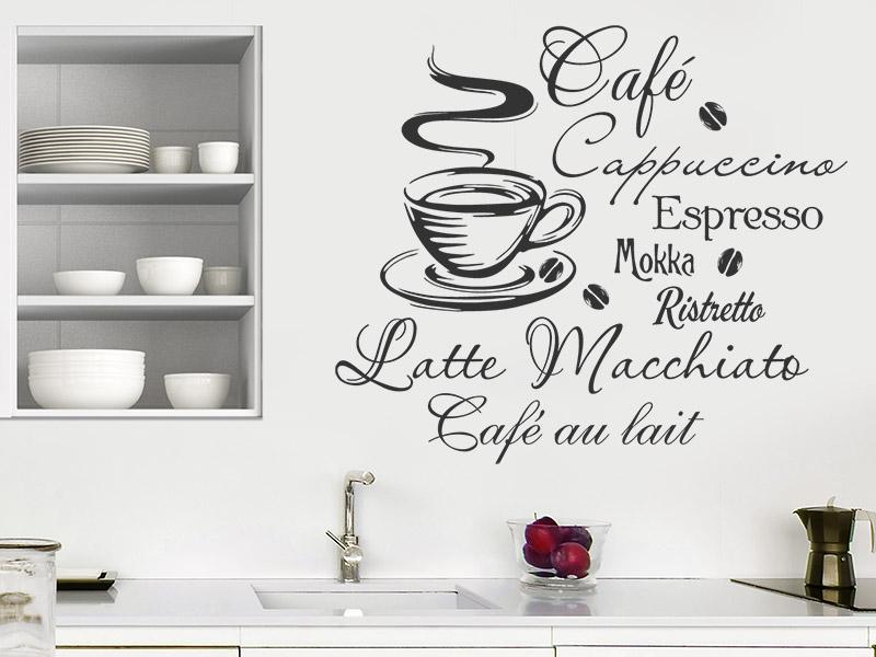 Wandtattoo Heißer Kaffee mit Kaffeesorten | Wandtattoos.de