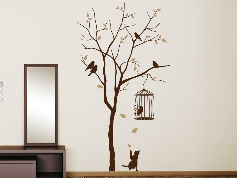 wandtattoo katze unterm baum mit vogelk fig. Black Bedroom Furniture Sets. Home Design Ideas