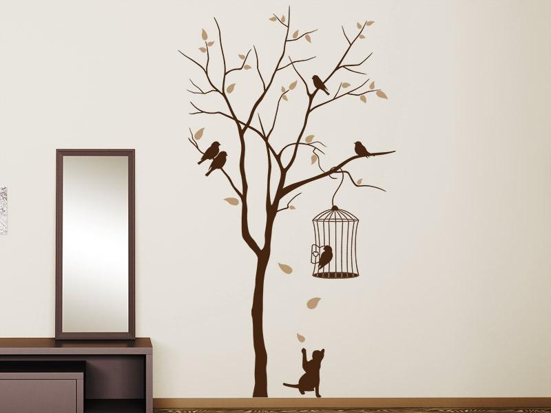 Wandtattoo katze unterm baum mit vogelk fig - Lampions kinderzimmer ...