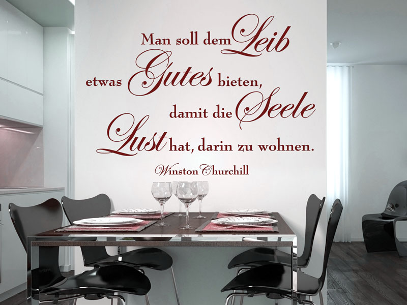 Wandtattoo Man soll dem Leib etwas Gutes bieten - Wandtattoos.de