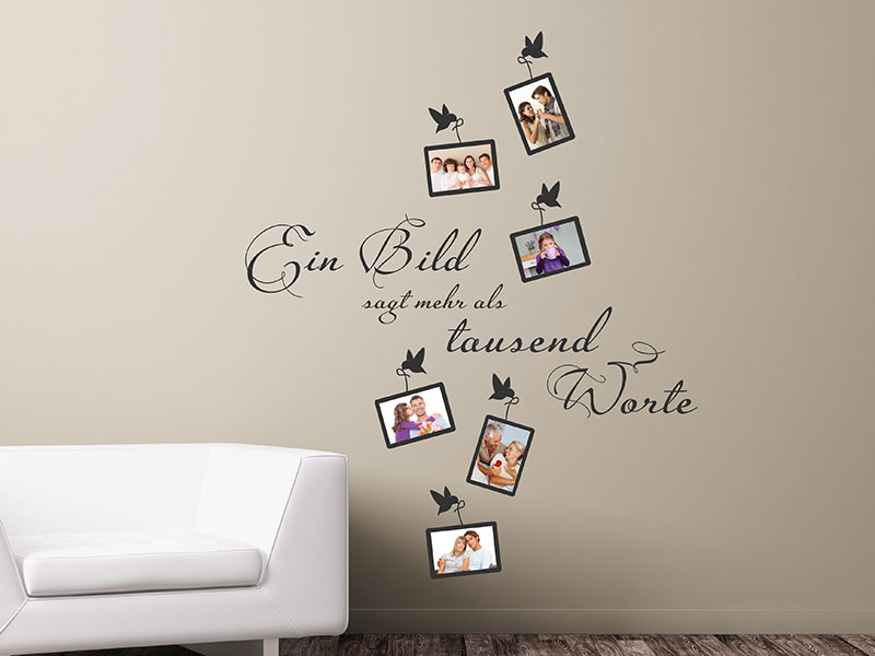 wandtattoo fotorahmen tausend worte. Black Bedroom Furniture Sets. Home Design Ideas