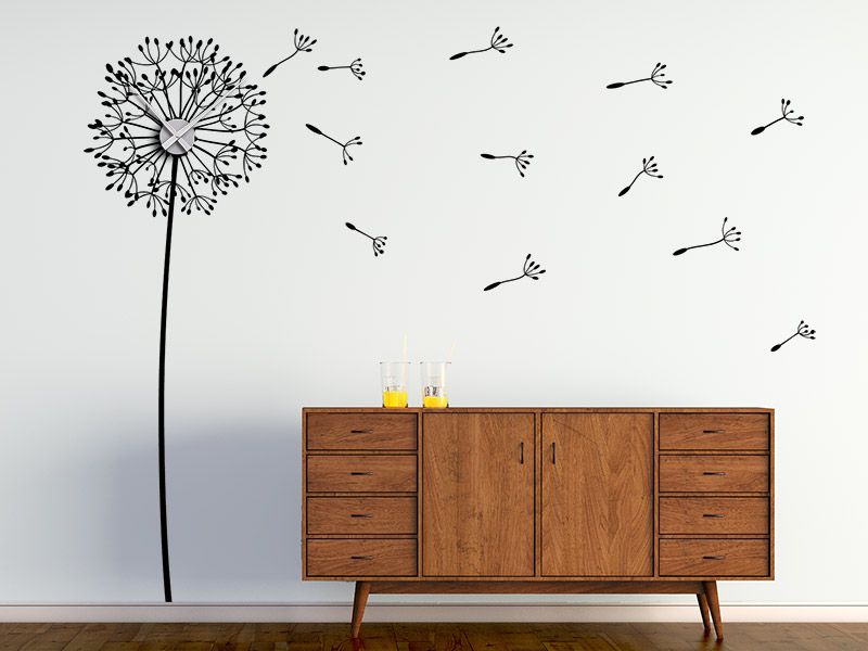 wandtattoo uhr pusteblume im wind. Black Bedroom Furniture Sets. Home Design Ideas