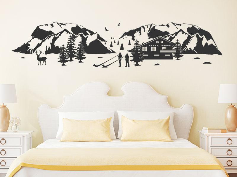 wandtattoo alpenlandschaft mit bergen. Black Bedroom Furniture Sets. Home Design Ideas