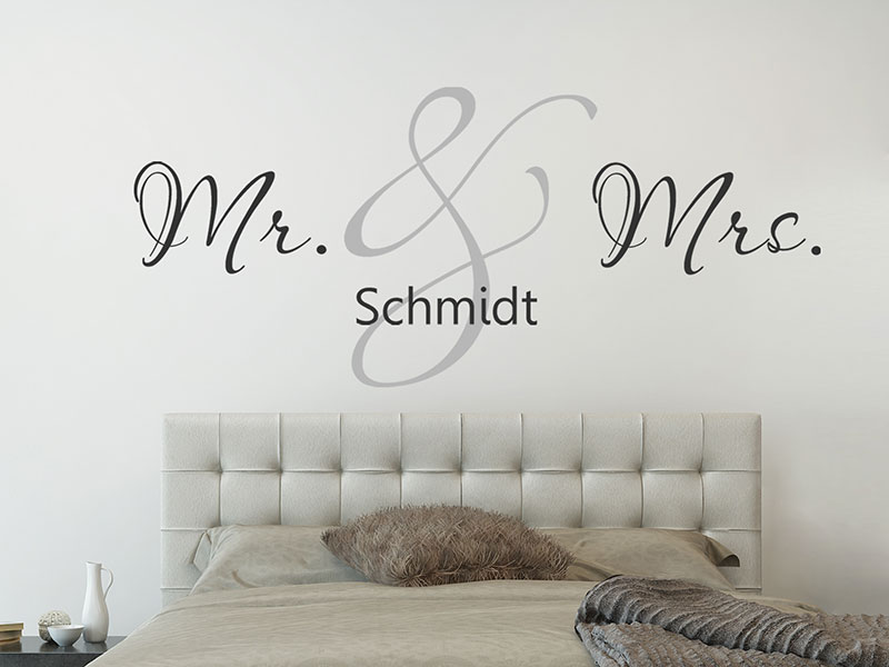 wandtattoo mr mrs mit wunschname liebe. Black Bedroom Furniture Sets. Home Design Ideas