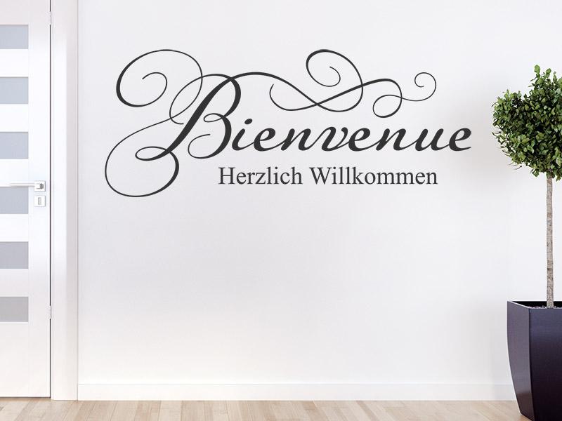 wandtattoo bienvenue herzlich willkommen. Black Bedroom Furniture Sets. Home Design Ideas