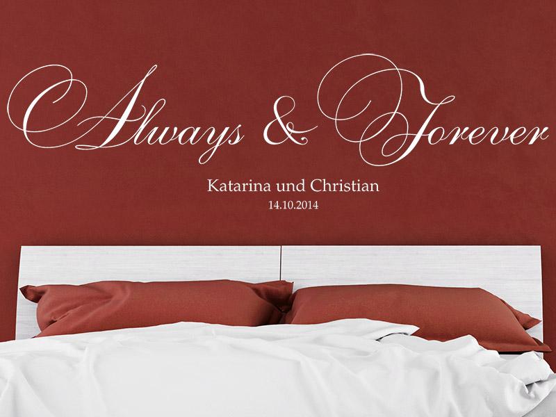 wandtattoo forever mit namen und datum f r paare. Black Bedroom Furniture Sets. Home Design Ideas