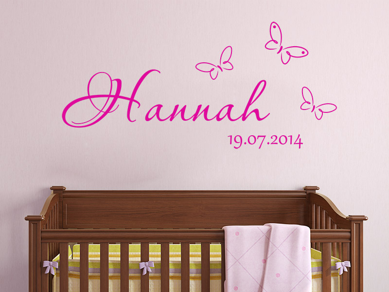 wandtattoo baby name mit schmetterlingen und datum. Black Bedroom Furniture Sets. Home Design Ideas