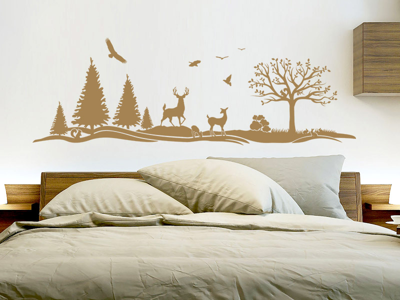 wandtattoo wald hirsche tannen landschaft. Black Bedroom Furniture Sets. Home Design Ideas