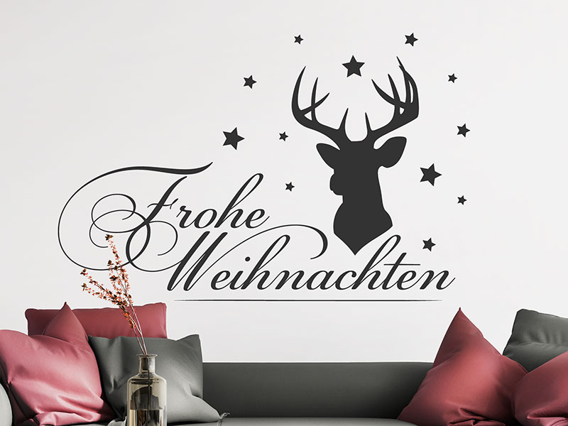 wandtattoo hirsch mit frohe weihnachten. Black Bedroom Furniture Sets. Home Design Ideas