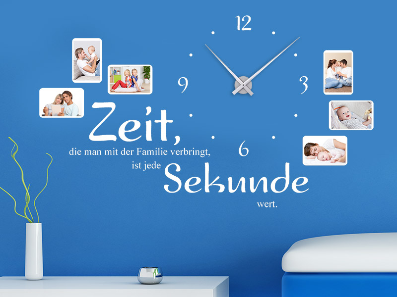 wandtattoo uhr zeit die man mit der familie bei. Black Bedroom Furniture Sets. Home Design Ideas