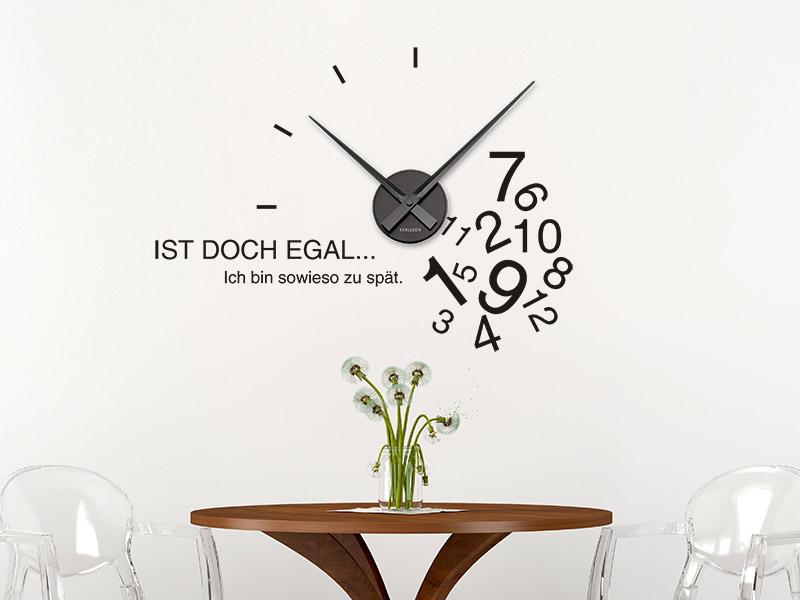 Wandtattoo Uhr Sowieso zu spät Wanduhr... - Wandtattoos.de