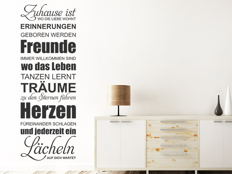 wandtattoo zuhause wo die liebe wohnt bei. Black Bedroom Furniture Sets. Home Design Ideas