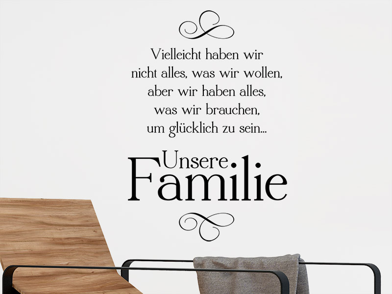 wandtattoo unsere familie spruch von. Black Bedroom Furniture Sets. Home Design Ideas