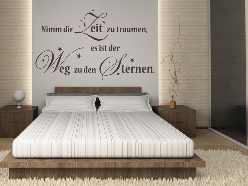 wandtattoo nimm dir zeit zu tr umen. Black Bedroom Furniture Sets. Home Design Ideas