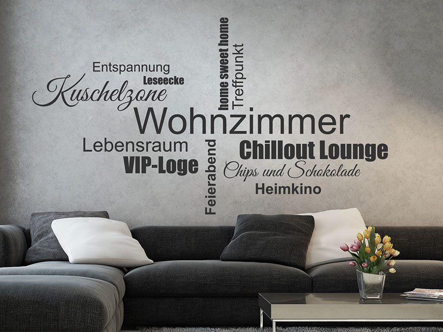 wandtattoo wohnzimmer worte als wortwolke. Black Bedroom Furniture Sets. Home Design Ideas