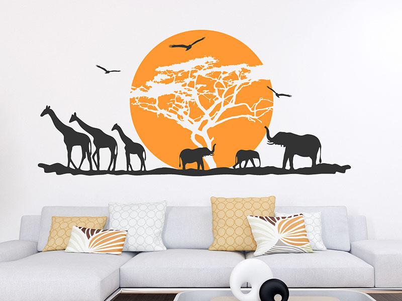 Wandtattoo afrikanische landschaft mit sonne for Wandtattoo afrika
