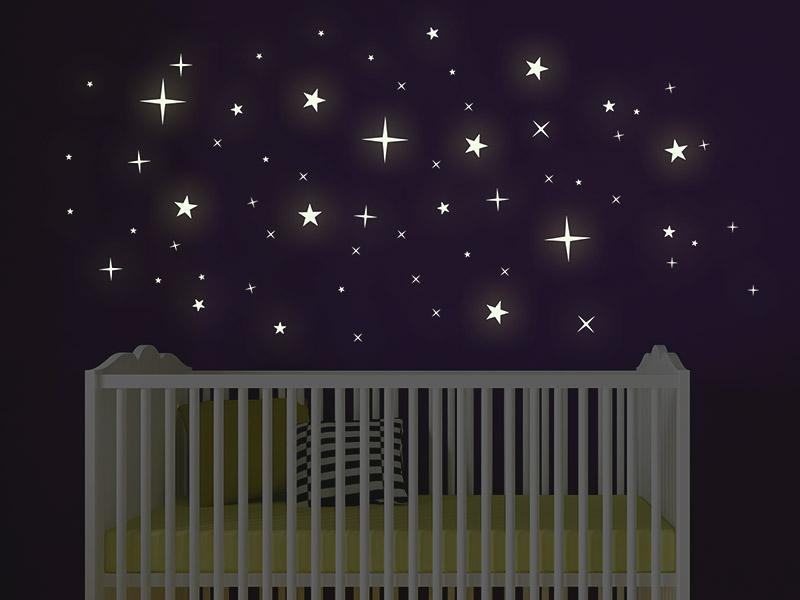 Wandtattoo leuchtende sterne leuchtfolie - Leuchtende wandtattoos kinderzimmer ...