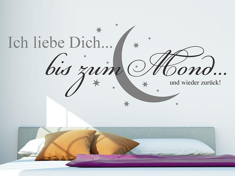 wandtattoo ich liebe dich bis zum mond und wieder zur ck von. Black Bedroom Furniture Sets. Home Design Ideas