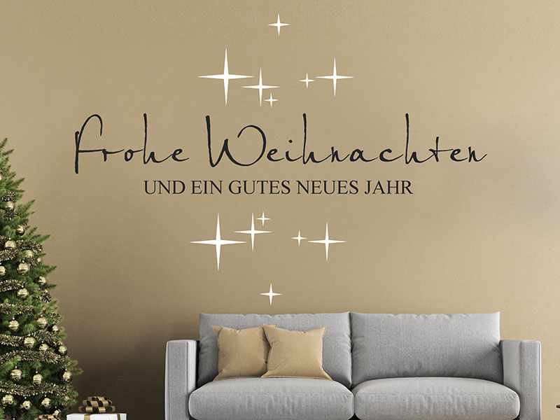 wandtattoo frohe weihnachten ein gutes neues jahr. Black Bedroom Furniture Sets. Home Design Ideas