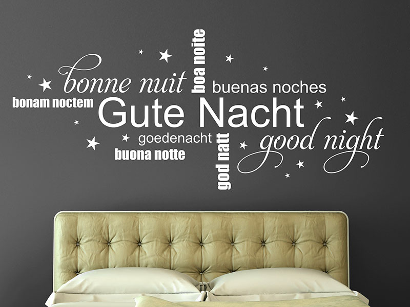 wandtattoo gute nacht mit sternen als wortwolke. Black Bedroom Furniture Sets. Home Design Ideas