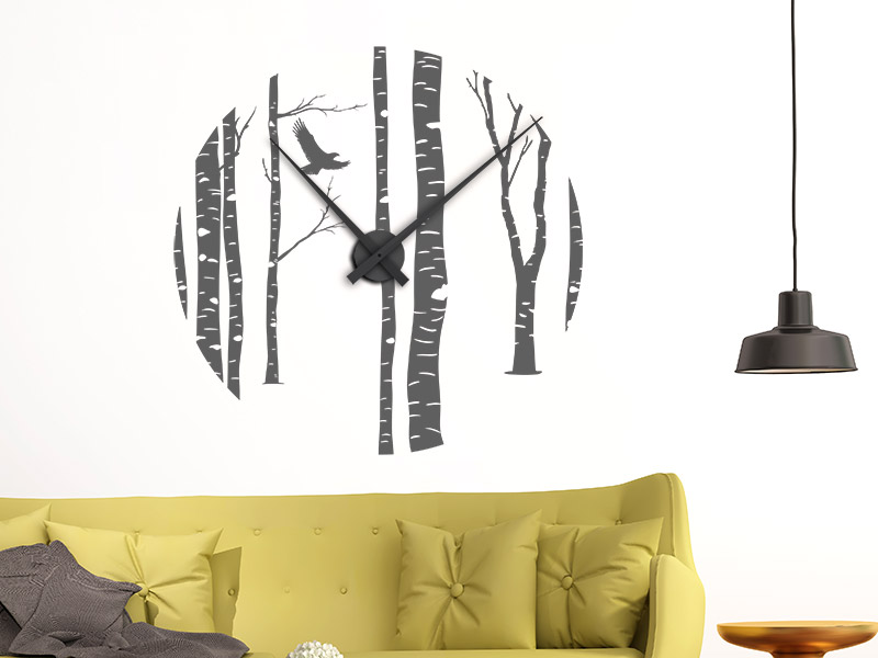 wandtattoo uhr zeit f r natur birkenwald. Black Bedroom Furniture Sets. Home Design Ideas