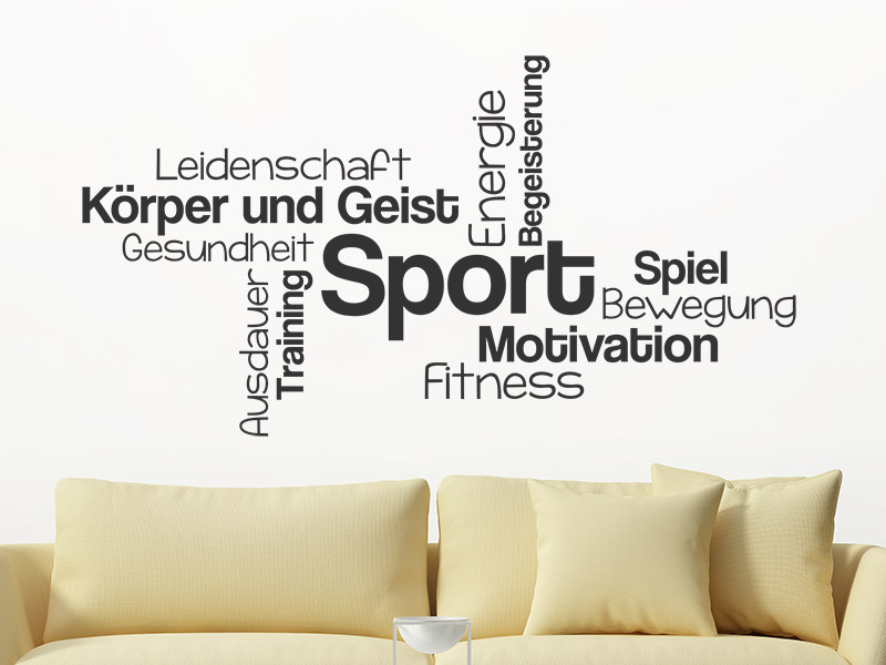 wandtattoo wortwolke sport mit sportbegriffen. Black Bedroom Furniture Sets. Home Design Ideas