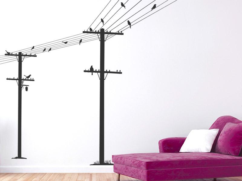 wandtattoo strommasten leitungen mit v geln. Black Bedroom Furniture Sets. Home Design Ideas