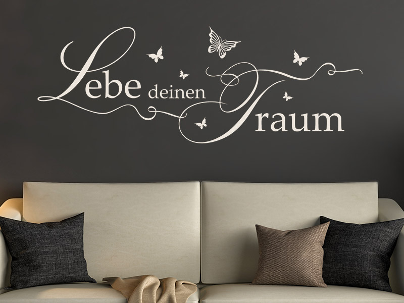 wandtattoo lebe deinen traum mit schmetterlingen. Black Bedroom Furniture Sets. Home Design Ideas