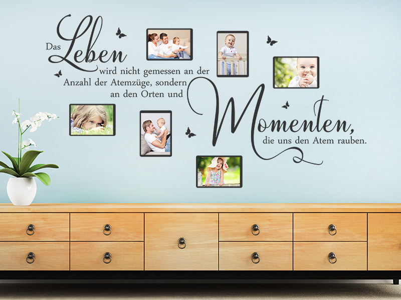 wandtattoo fotorahmen das leben wird nicht. Black Bedroom Furniture Sets. Home Design Ideas