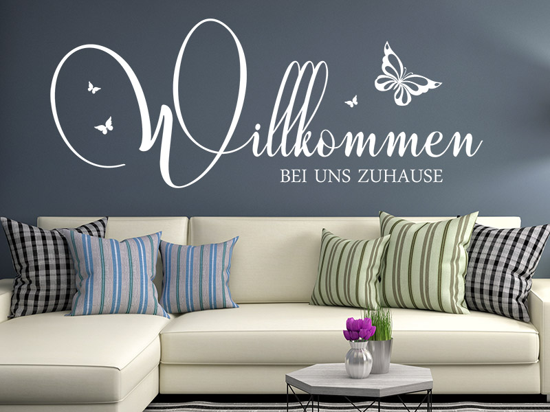 wandtattoo willkommen bei uns zuhause. Black Bedroom Furniture Sets. Home Design Ideas