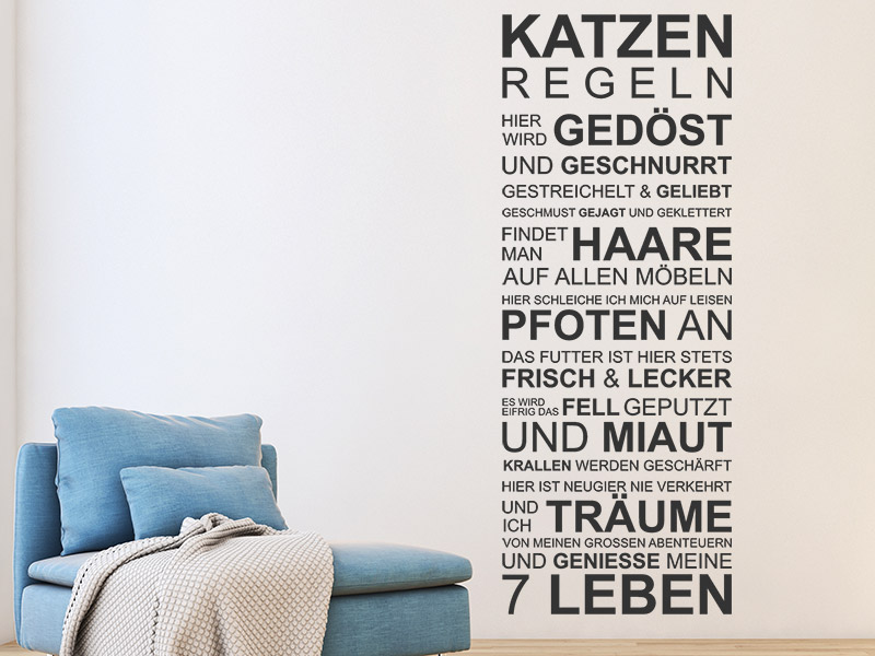 wandtattoo katzen regeln spruchband f r katzenfans. Black Bedroom Furniture Sets. Home Design Ideas