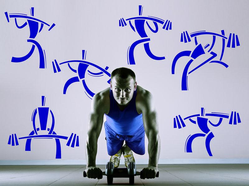 wandtattoo fitnessstudio set langhantel workout. Black Bedroom Furniture Sets. Home Design Ideas