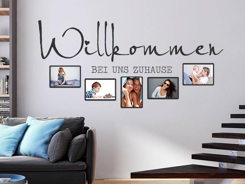 wandtattoo fotorahmen willkommen bei uns. Black Bedroom Furniture Sets. Home Design Ideas