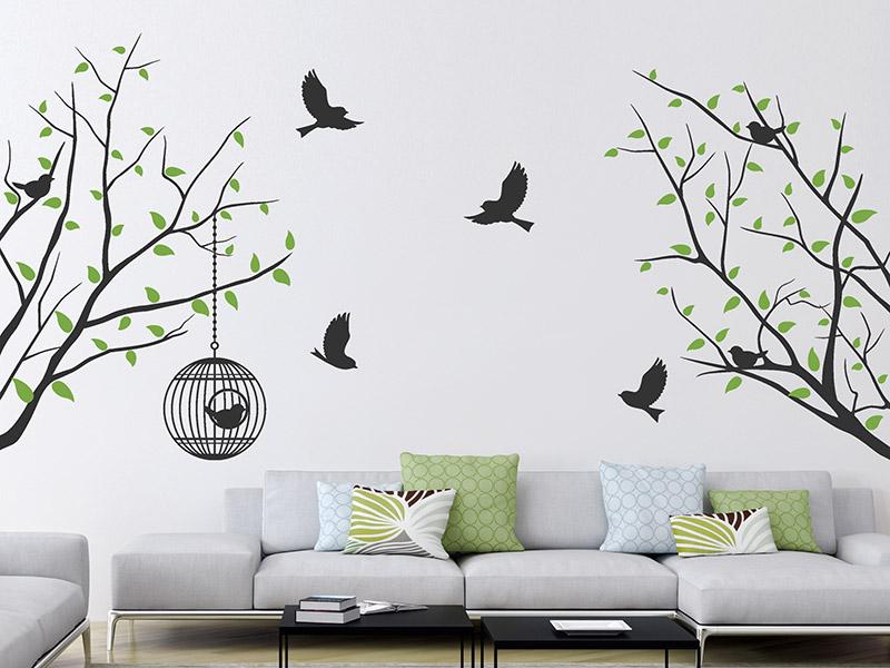Wandtattoo dekorative ste mit bl ttern und v geln for Wandbemalung schlafzimmer