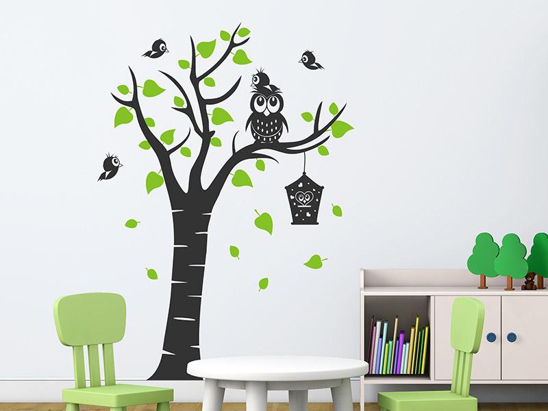 Wandtattoo Kinderbaum mit Eule und Vogelhaus  Wandtattoos.de
