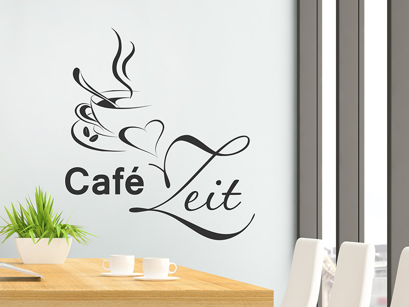 wandtattoo caf zeit mit herz und kaffeetasse. Black Bedroom Furniture Sets. Home Design Ideas