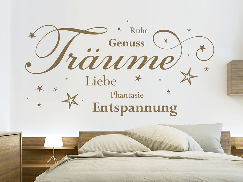 wandtattoo tr ume liebe entspannung ruhe. Black Bedroom Furniture Sets. Home Design Ideas