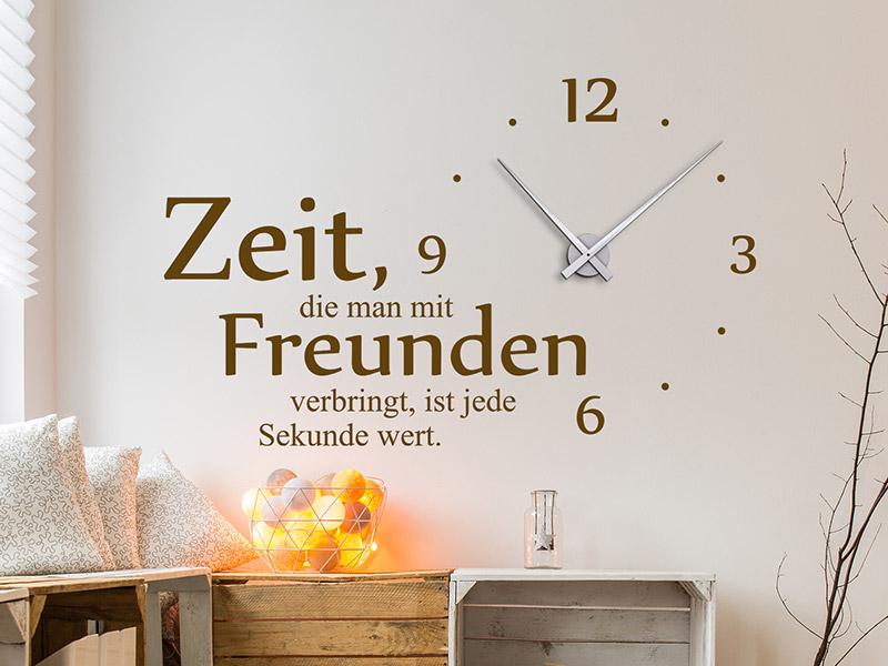 Wandtattoo Uhr Zeit mit Freunden Wanduhr | Wandtattoos.de