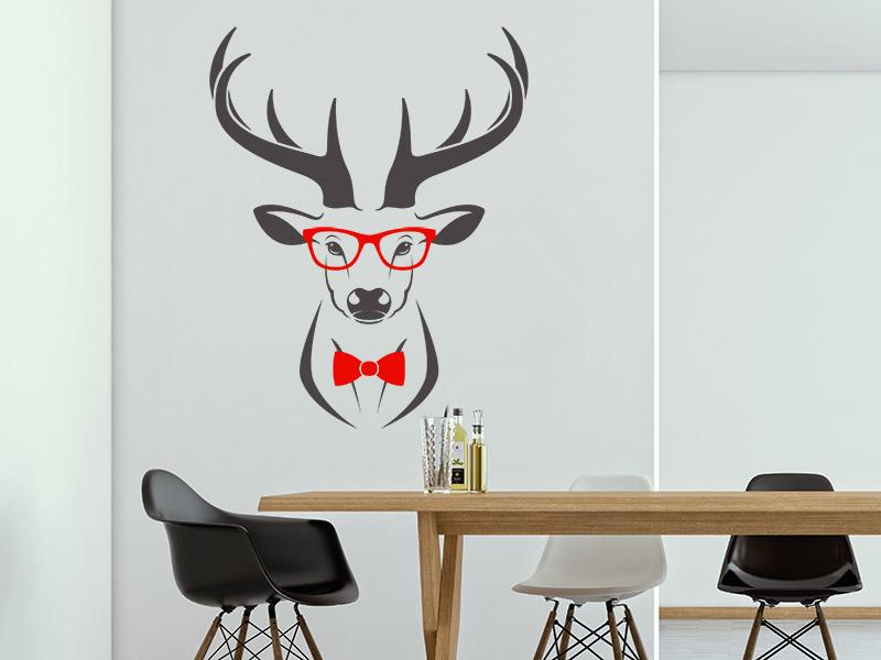 wandtattoo hipper hirsch mit brille und fliege. Black Bedroom Furniture Sets. Home Design Ideas
