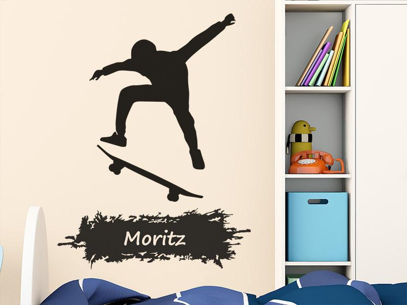 wandtattoo skateboard mit name. Black Bedroom Furniture Sets. Home Design Ideas