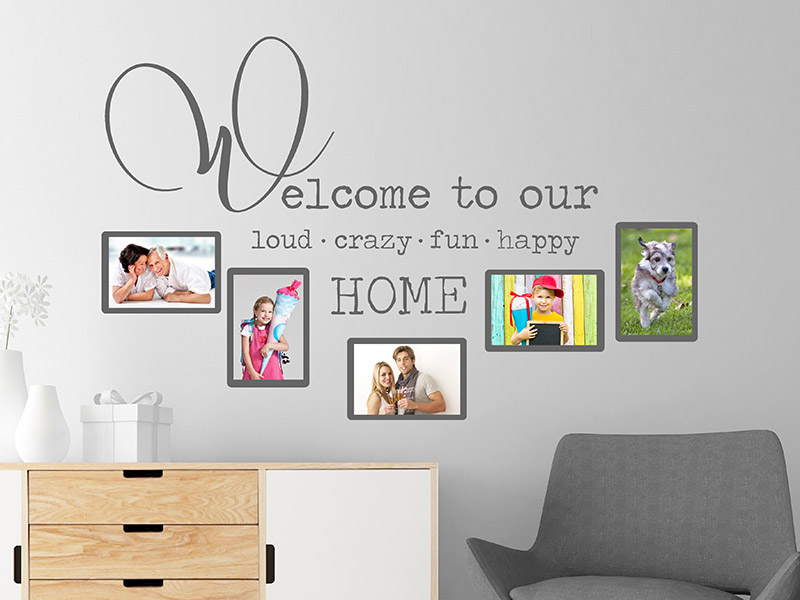 wandtattoo fotorahmen welcome to our home. Black Bedroom Furniture Sets. Home Design Ideas