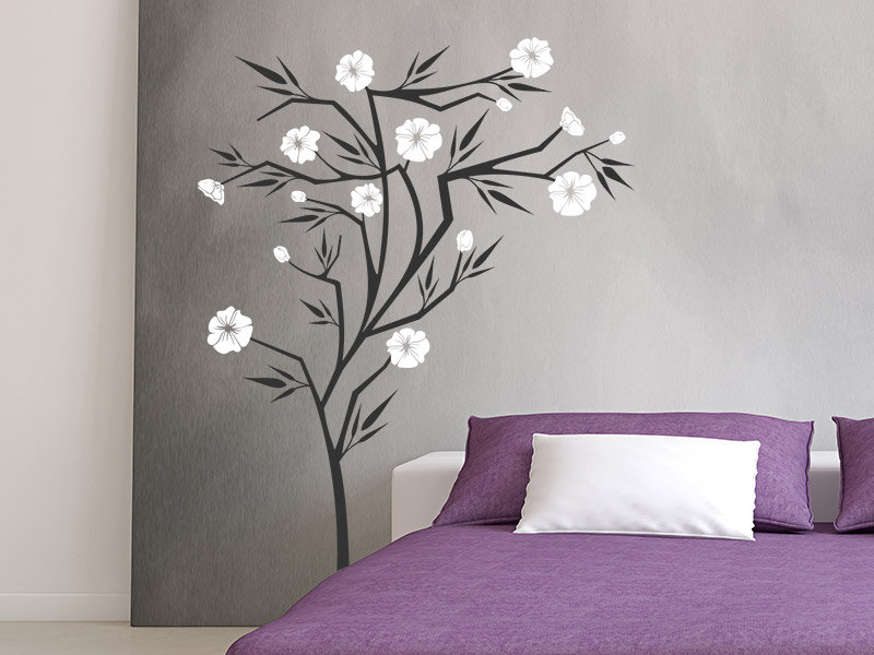 wandtattoo japanischer strauch mit bl ten. Black Bedroom Furniture Sets. Home Design Ideas
