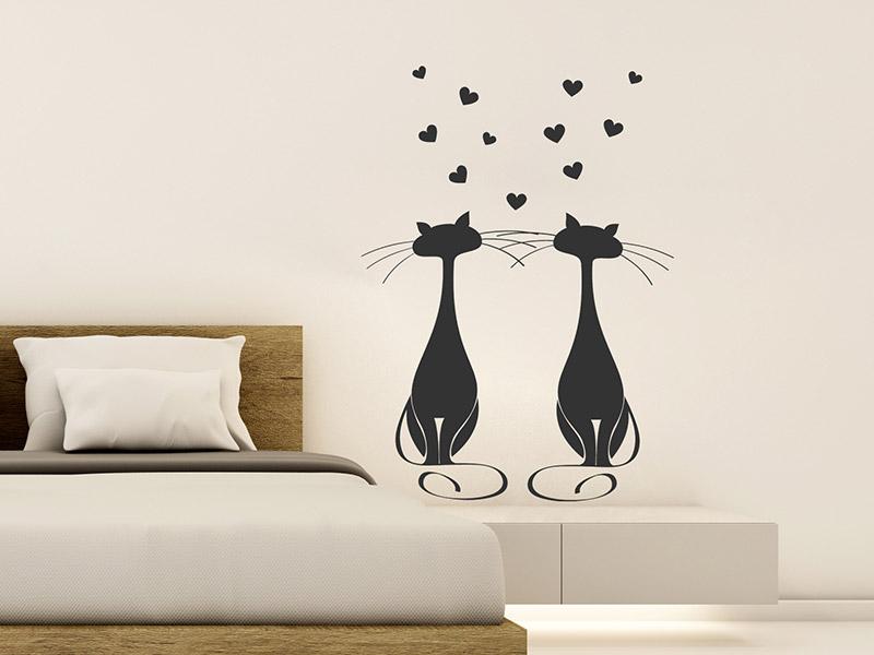 Wandtattoo verliebte katzen von - Katzen wandtattoo ...