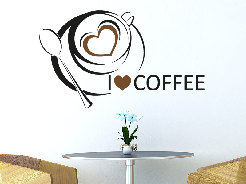 wandtattoo i love coffee mit kaffeetasse bei. Black Bedroom Furniture Sets. Home Design Ideas