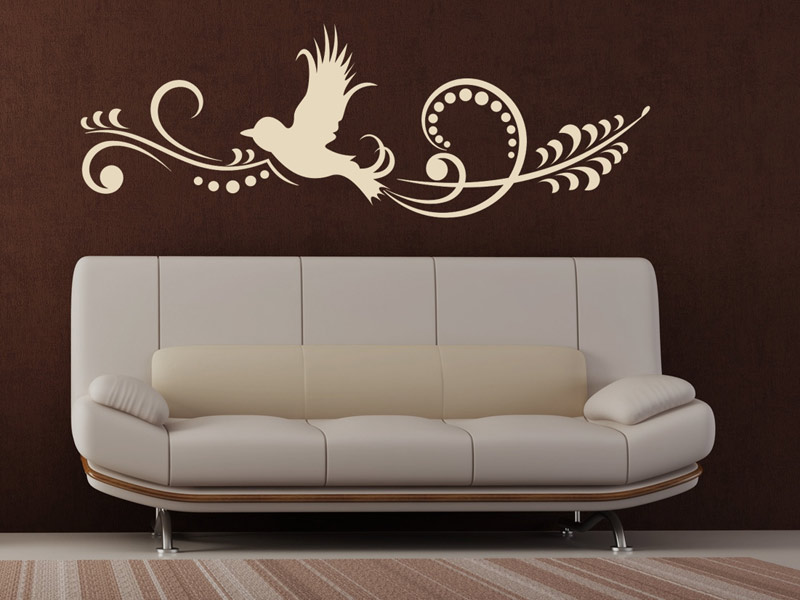 wandtattoo ornament mit vogel wandstyling. Black Bedroom Furniture Sets. Home Design Ideas